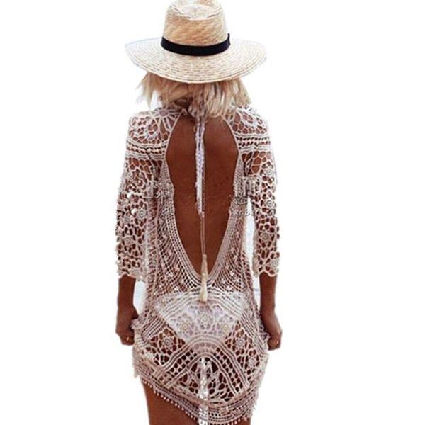 Bikini Crochet Cover Up Beach Woman Beach Dress Cover Ups Swimsuit Bathing Suit Swimwear Cover-up Plus Size Saida De Beach Tunic Y19060301
