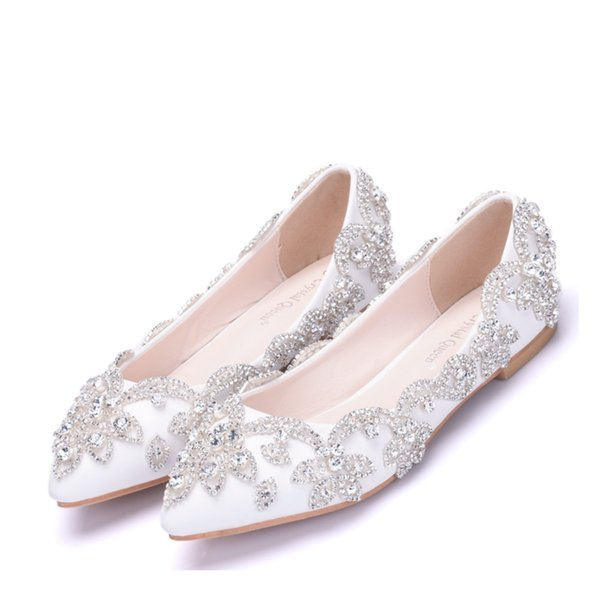 Crystal Queen Lady Shoes Blue Rhinestone Flat Heel Women Shoes