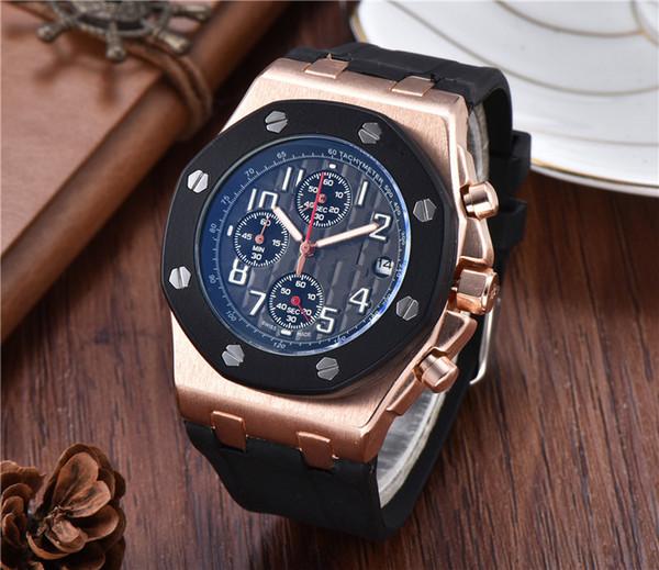 Herrenuhr Diamant Iced Out mit Datum Kautschukband Schwarz Full Function-Quarz-Uhr-Mann-Designer-Uhr-Armbanduhr