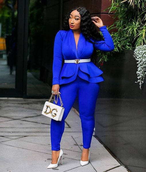 Women Sexy V Neck Suits Fashion Two Piece Pants Solid Color Ruffle Tiered Clothing Luxury Sexy Suits for Women 4 Styles