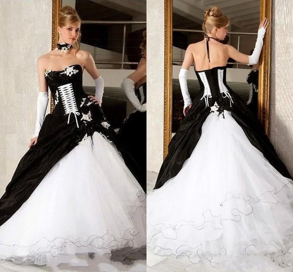 detailing enjoy bottom price latest selection Discount 2020 Vintage Black And White Ball Gown Wedding Dresses Strapless  Backless Corset Victorian Gothic Plus Size Wedding Bridal Gowns A Line  Satin ...