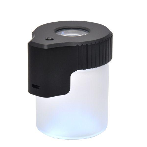 Новые Приходят Пластиковое Стекло Подсветка LED Air Tight Доказательство Хранения Лупа Контейнер Для Просмотра 155 МЛ Многофункциональный Пластиковый Pill Box Бутылка Чехол