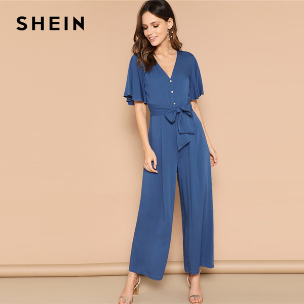SHEIN Blue Button Front Flutter Sleeve Belted Palazzo Jumpsuit Spring High Waist V neck Flounce Sleeve Women Jumpsuits