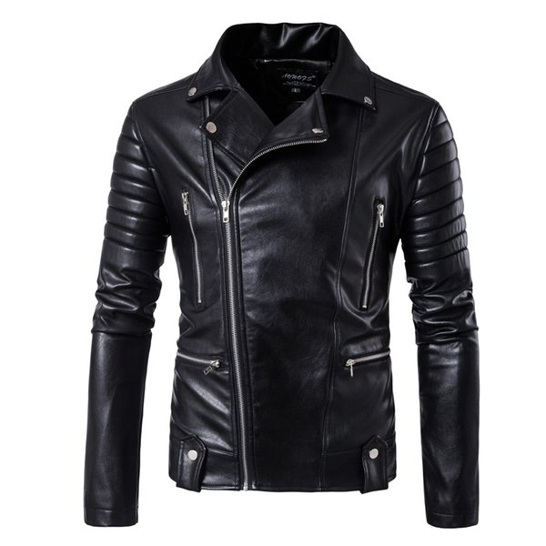 European Code 2019 new fashion men's locomotive large code leather coat multi-zipper leather jacket M-5XLB003