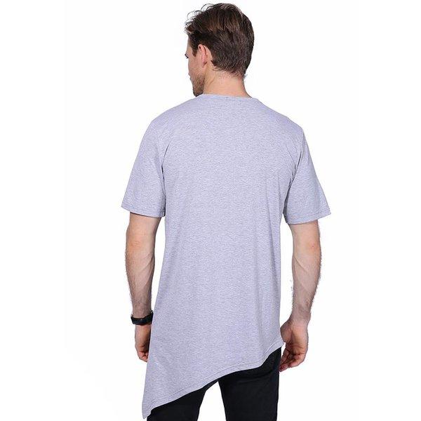9a0d39394 Summer Men'S T Shirt Men Fashion Buttons Decoration O Neck Short Sleeve T  Shirts Men Irregular Long Hip Hop Solid Top Tees YH 021 All Shirts ...
