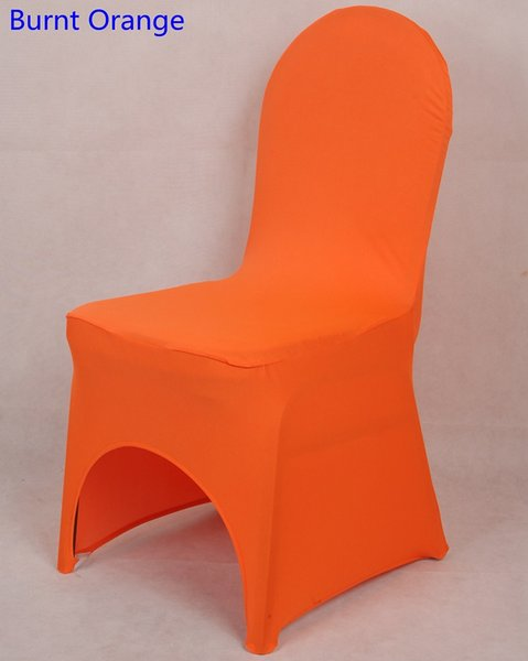 Burnt orange colour lycra universal chair cover for wedding decoration spandex chair cover on sale banquet chair arch front open
