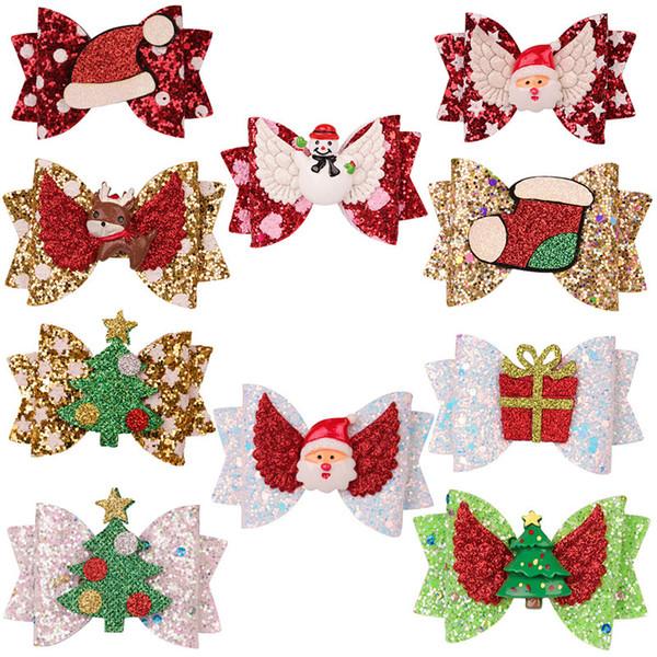 3 clip in pollici dei capelli delle ragazze Albero di Natale Bow Elk paillettes Babbo Natale scatola regalo cappello Barrettes Hairbow dei capelli della forcella accessori capi