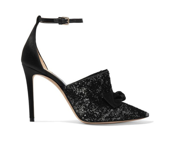 Black sequins women's fashion evening dress shoes pointy belt style elegant model runway sexy high heels for women
