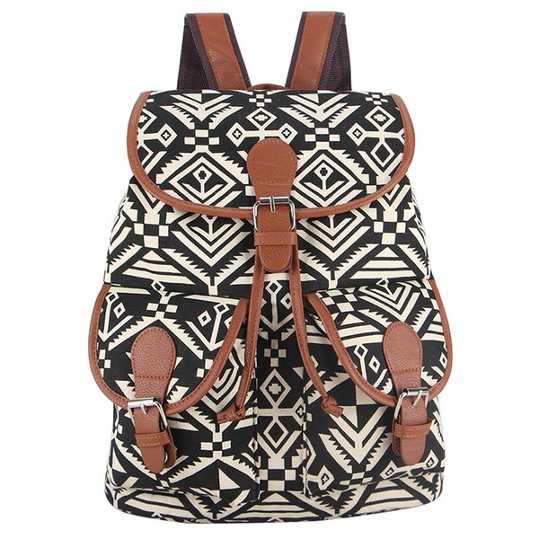 Wholesale- Exclusive New 2017 Handmade National Bohemian Vintage Style Printing Canvas Backpack for Teenage Girls Bagpack Sac a Dos