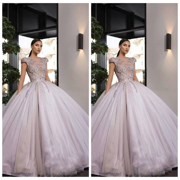 2019 Sheer Jewel Short Sleeves Ball Gowns Floor Length Prom Dresses Lace Appliques Tulle Beading Special Occasion Party Gowns Custom Online