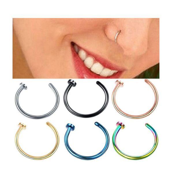 8mm Mulheres E Homens Nariz Anel De Aço Cor Ouro Preto Azul Roxo Verde Piercing Ornamentos Novos Anéis De Nariz