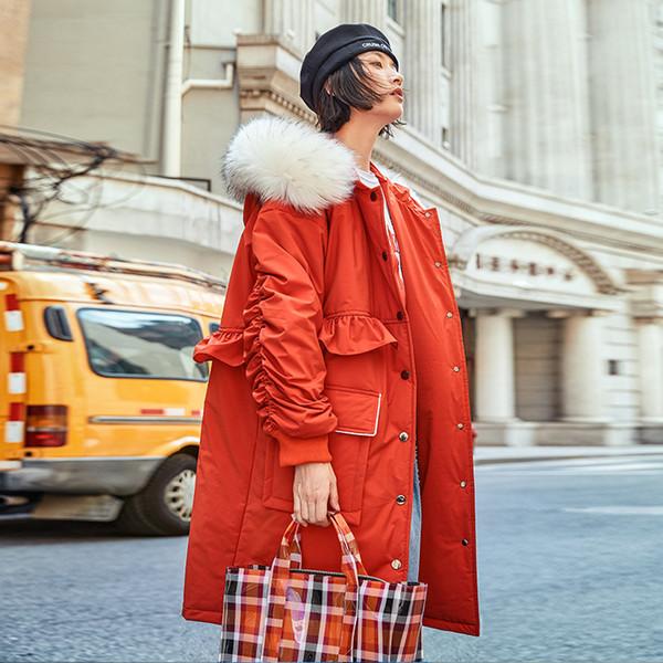 Ucrânia Mulheres Jaqueta de Inverno de Algodão Vermelho Acolchoado Casaco Feminino Grande Gola de Cabelo Solto Plus Size Flouncing Ocasional Parka Feminina QH293