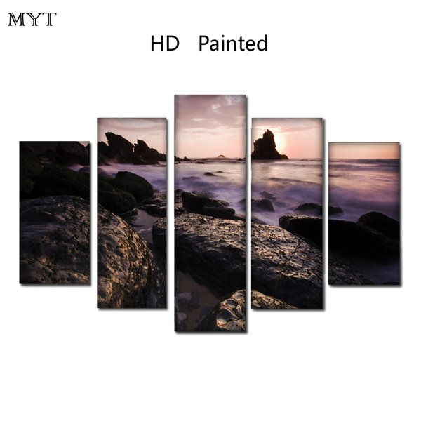 Free shipping HD Printed 5 Pieces High Quality Large size Canvas beautiful painting seaside stones scenery Wall Art pictures Home Decor