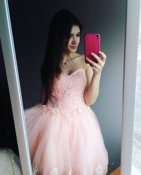 Sweet Pink Short Prom Dresses Sweetheart Applique Lace Cocktail Party Dresses Cheap Homecoming Dresses Evening Wear Vestidos elegantes 2019