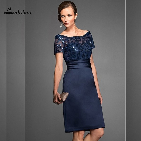 Elegant Navy Scoop Sheath Navy Mother Of The Bride Dresses Satin Short Sleeves Sequin Knee Length Wedding Guest Gown Custom Made J190622