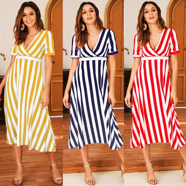 2019 Kadınlar Casual Wrap Stripes Kısa Kollu Midi Elbise V Boyun Yüksek Bel Gevşek Uzun
