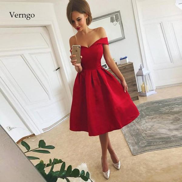 Verngo Red Satin Prom vestidos simples Partido Vestido Prom Vestido Festa Vestido Curto Vestidos De Gala