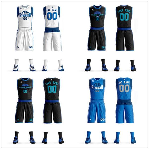 Jóvenes Baratos universitarios camisetas de baloncesto 2019 hombres niños transpirable personalizados uniformes de baloncesto camisas pantalones cortos Conjunto de gran tamaño