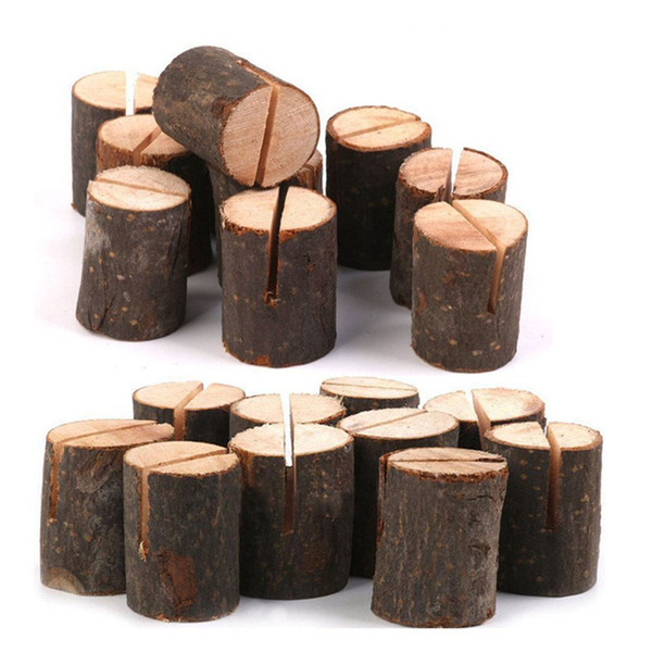 top popular Rustic Wood Table Numbers Holder Wood Place Card Holder Party Wedding Table Name Card Memo Note (40pcs) 2021