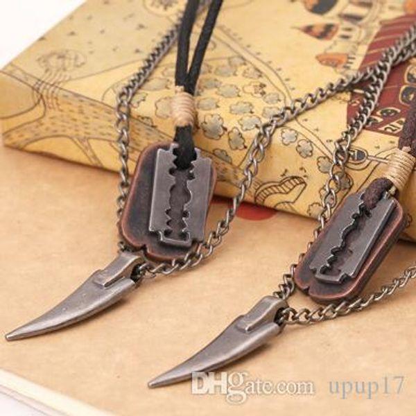 New Fashion Europe and America Razor Blade Corner Accessories Men's Retro Cowhide Necklace Drop Shipping