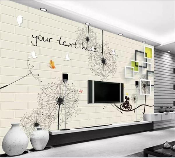 Großhandel Benutzerdefinierte Größe 3d Fototapete Wohnzimmer Mural Einfache  Löwenzahn Backsteinmauer 3d Bild Sofa Tv Hintergrund Wandtapete Vlies ...