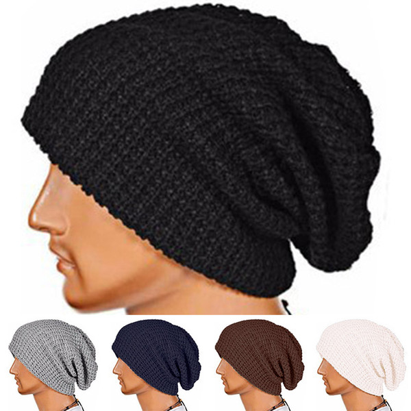 Inverno Venda Quente de Alta Qualidade Elástica Ajustável de Lã Mulheres Malha Confortável Macio 7 Cores Chapéu Homens Quentes Único 1 PC