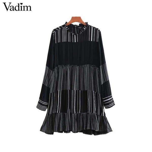 Vadim Women Striped Patchwork Mini Ruffled Manica lunga O Collo Pieghettato Femminile Casuale Vestito dritto Vestidos Qa671 C19042301