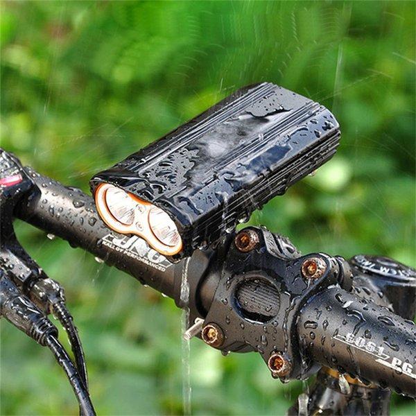 2 XM-L T6 LED USB Recargable Led Luces de Bicicleta Antorcha Linterna Linterna Exterior impermeable Ciclismo Deportes Noche de seguridad luz trasera