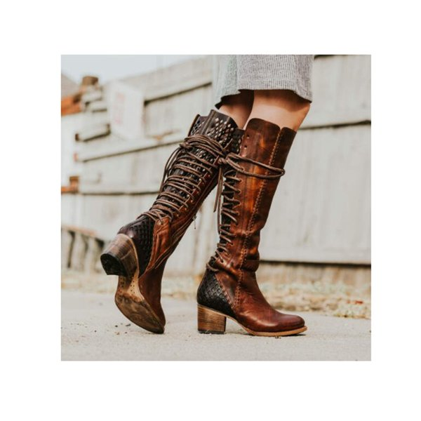 Hot Ins Style Autumn&Winter Western Boots Women Cross-tied In Back Over-The-Knee Round Toe Square High Heels Large Size 34-43