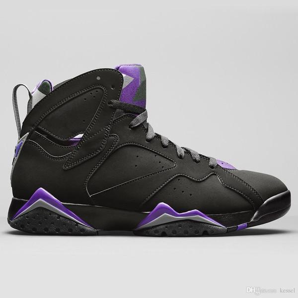 New 7 Ray Allen PE Mens Basketball Shoes Good Quality Black Fierce Purple Dark Steel Grey Men Athletic 7s Designer Sports Sneakers