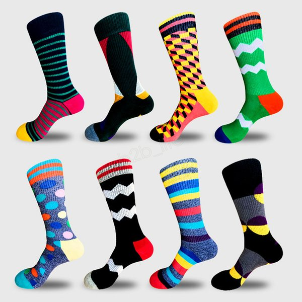 top popular Man Mid socks striped dot colorful sport outdoor Diamond European Fund Funny Happy Cotton PULL Directly Plate Motion Socks LJJA2873 2019