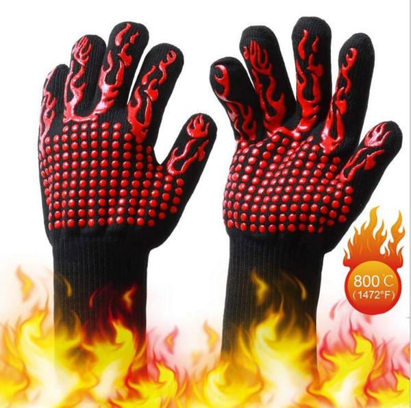 Celsius Жаропрочные перчатки Жаропрочные жарочные перчатки Перчатки для запекания для барбекю Рукавицы для духовки 500 градусов Противопожарная посуда для выпечки CFYZ26