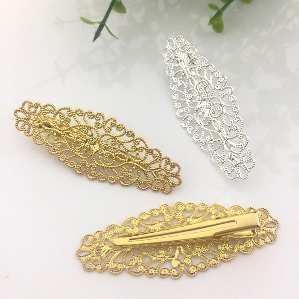 20pcs 45mm Metal French barrettes silver filigree flower hair pin women Alligator clip hairpin bronze hairclip vintage hairwear diy jewelry