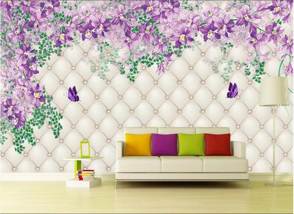 3d odası duvar kağıdı özel fotoğraf duvar Amerikan tarzı taklit yumuşak paketi arka plan duvarlar için gül çiçek asma arka plan duvar kağıdı 3 d