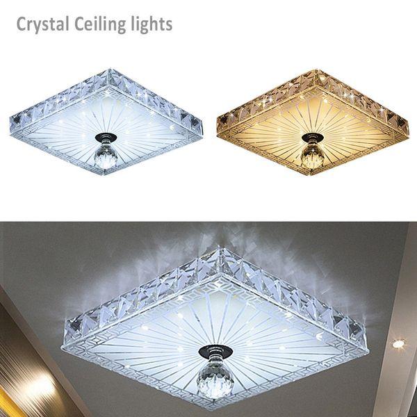 Modern Crystal LED Flush Aisle Ceiling Lamp Ceiling Light Fixture Lighting Chandelier Square 12W Corridor Porch Balcony Lamp