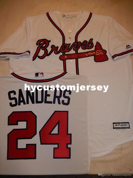 Barato personalizado MENS MAJESTIC Atlanta # 24 DEION SANDERS Baseball Cool Base JERSEY Jerseys cosidos para hombre Talla grande y alta XS-6XL En venta