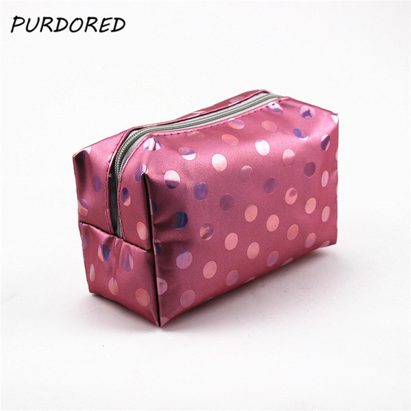 PURDORED 1 pc Dot Travel Toiletry Beauty Cosmetic Bag Laser Makeup Case Organizer Zipper Holder Bolsa de maquillajeDropshipping