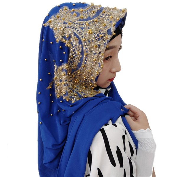 20colors musulman Bandanas Jersey Hijab Femme Diamants Or Paillettes musulmane longue écharpe en mousseline de soie Hijabs Hoofddoek Mode Turbante