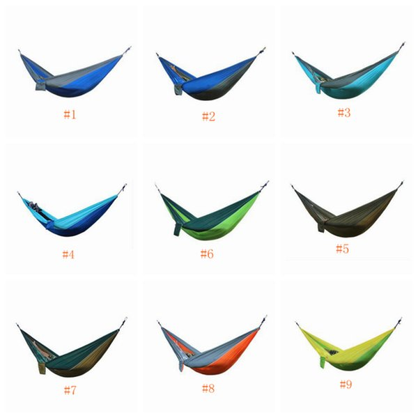 top popular Hammock 34 Colors 270*140cm Outdoor Parachute Cloth Field Camping Hammock Garden Camping Swing Hanging Bed LJJZ641 2021