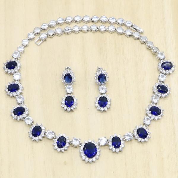 Kadınlar Mavi Yarı kıymetli kolye Küpe Doğum Hediyesi için Gelin Gümüş Takı Setleri