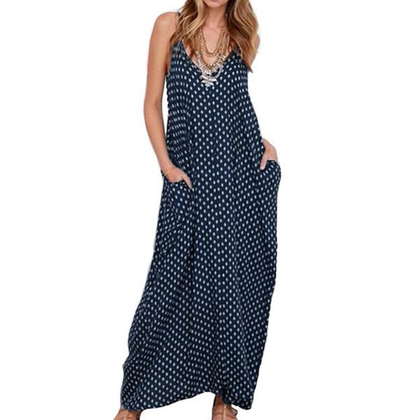 5XL Plus Size Summer Dress 2019 Women Polka Dot Print V Neck Sleeveless Sundress Loose Maxi Long Beach Bohemian Vintage Dress