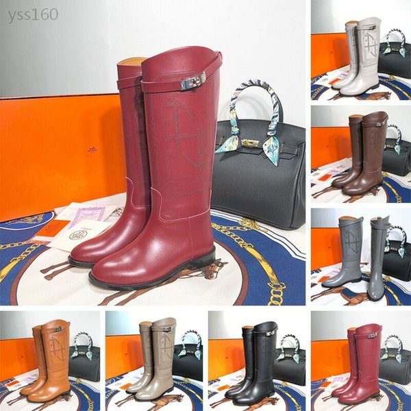 2019 Autumn And Winter New Women's Calfskin boots Flat Bottom With And Knees Luxury High Boots Martin Women's Boots