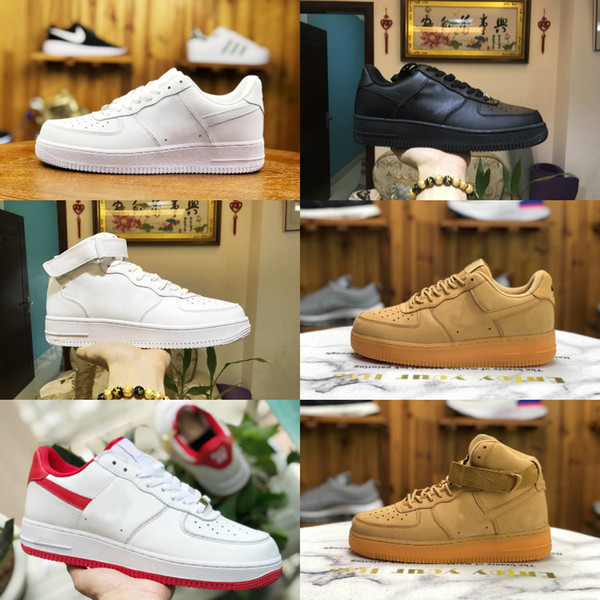 Sıcak Satış 2019 Yeni Tasarım Kuvvetleri Erkekler Düşük Kaykay Ayakkabı Ucuz Tek Unisex 1 Örme Euro Hava High Kadınlar All Beyaz Siyah Kırmızı Günlük Ayakkabılar