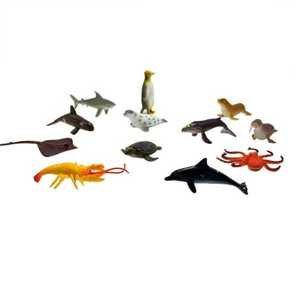 Cheap Action & Toy Figures 12pcs/set Plastic PVC Simulation Mini Sea Animal Model Toys for Children