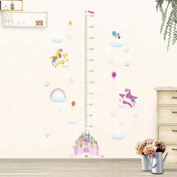 New Arrival Fancy Unicorn Growth Wallpaper Animal Cartoon Kids Bedroom Decorations Kindergarten Nursery Home Decor Height Wall Stickers