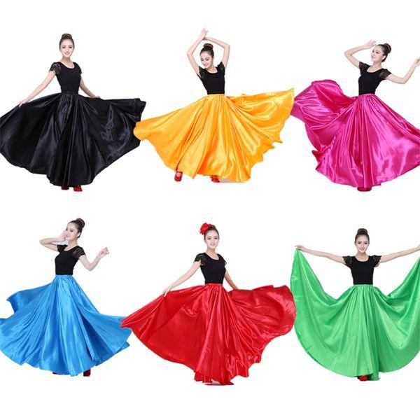 3812446d7 Compre 10 Falda Flamenca De Color Para Mujer Baile Español Vestido De  Fiesta Gitana Etapa Mujer Traje Coro Faldas Del Vientre Estiramiento 360  720 ...