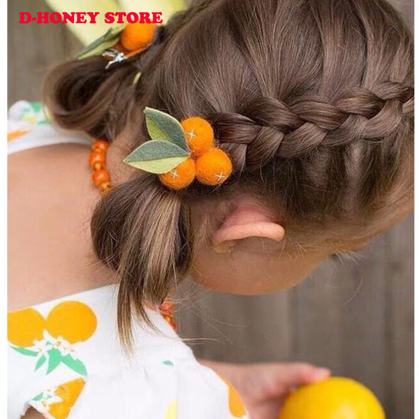 10pcs/lot Auspicious Small Orange Wool Felt Ball Little Girl Hair Clips Fruit Leaves Hairpins Handmade Barrettes Kids Headwear