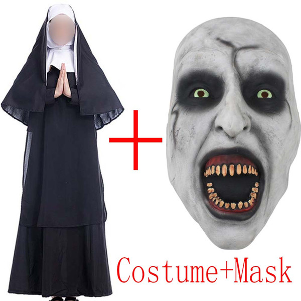 2019 Movie The Nun Costume Mask Cosplay Adult Long Black Scary Nuns Ghost Clothes Uniform Horror Halloween Party Costume Props Cosplay Party