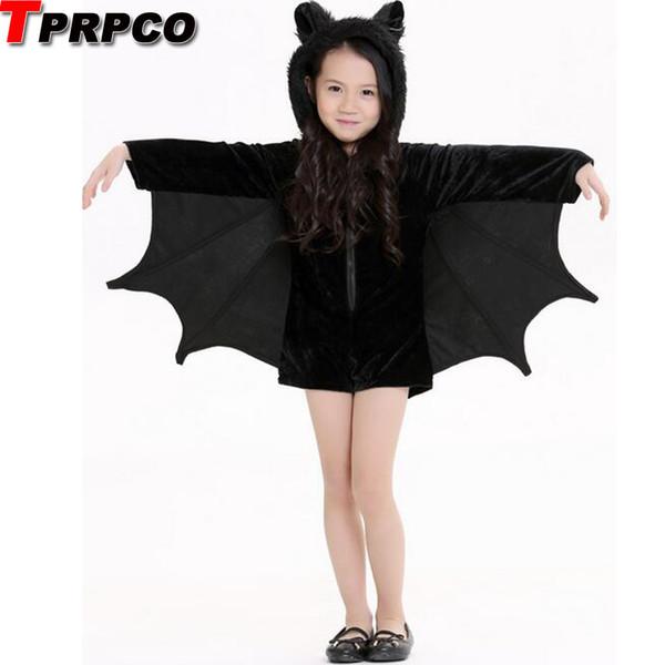 Ребенок аниме Косплей Симпатичные костюмы Bat костюм Дети Хэллоуин для девочек Черный комбинезон Connect Крылья Cosplay Batman NL168MX190924