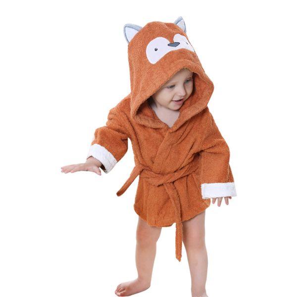 Cartoon Kids Baby Bath Robes Children Boys Girls Sleepwear Blanket Lovely Animal Hooded Bath Towel Long Sleeve Bathrobe 2-6years J190522